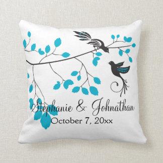 Love Birds Blue Throw Pillow
