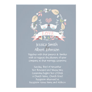 Love Birds Blue Wedding Invite