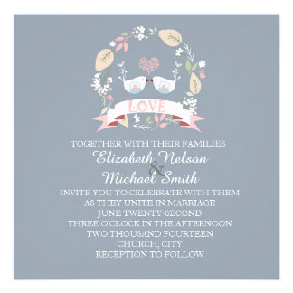 Love Birds Blue Wedding Invite