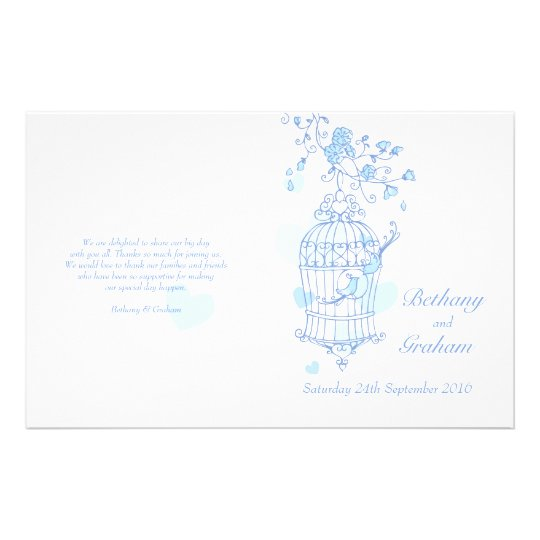 Love birds blue Wedding Programme Flyer