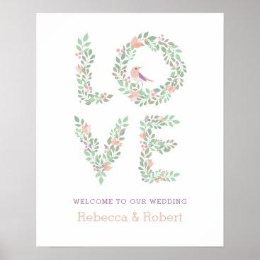 Wedding Themed Love Birds Botanical Wedding Sign