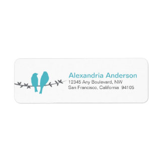 Love Birds Branch Return Address Labels (aqua)