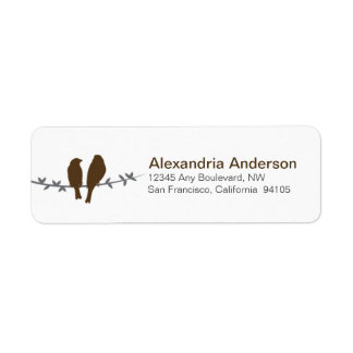 Love Birds Branch Return Address Labels (chocolate