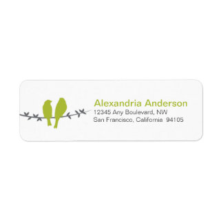Love Birds Branch Return Address Labels (lime)