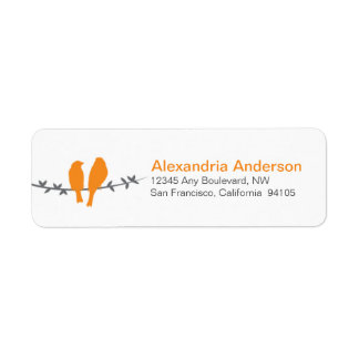 Love Birds Branch Return Address Labels (orange)