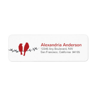 Love Birds Branch Return Address Labels (red)