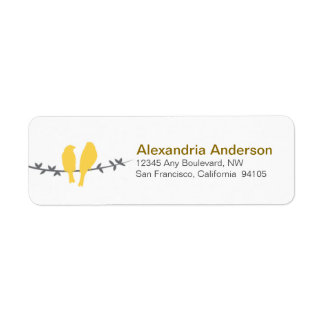 Love Birds Branch Return Address Labels (yellow)