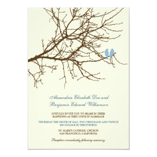 Love Birds Branch Wedding Invitation (brown/blue)