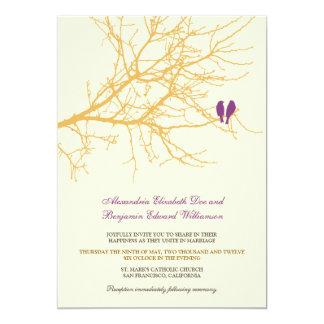 Love Birds Branch Wedding Invitation (gold)