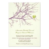 Love Birds Branch Wedding Invitation (lavender)