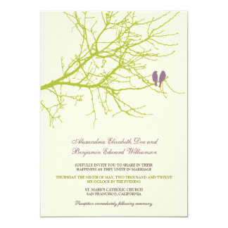 Love Birds Branch Wedding Invitation (lime)