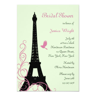Love Birds Bridal Shower (green) 5x7 Paper Invitation Card