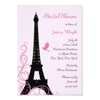Love Birds Bridal Shower (pink) 5x7 Paper Invitation Card