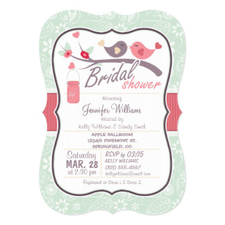 Love Birds Bridal Shower; Sage Green Paisley Custom Announcement