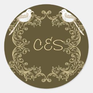 Love Birds Brown/Creme Wedding Envelope Stickers
