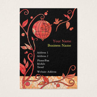 Love Birds Cage Black n Red Wedding Business Cards