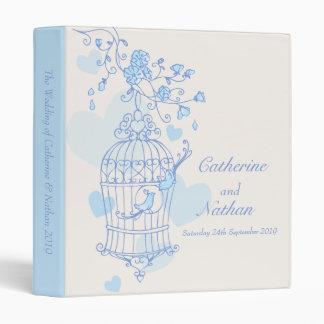 Love birds cage blue wedding folder 3 ring binder