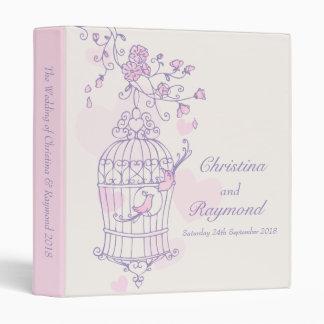 Love birds cage purple pink wedding folder binder