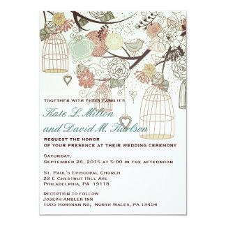 Love Birds Cages Flowers Tree Wedding Invite
