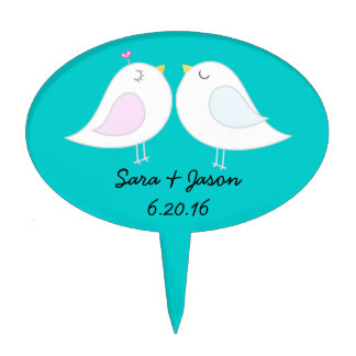 Love Birds Cake Topper with Aqua Background