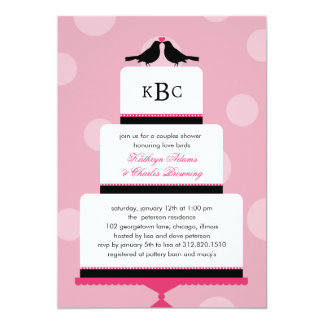 Love Birds Cake Wedding Shower Invitation
