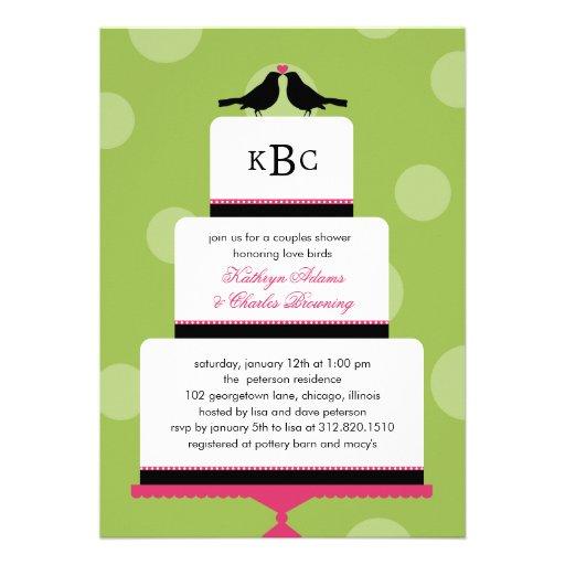 Love Birds Cake Wedding Shower Invitation Invite