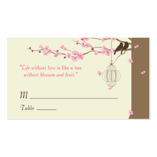 Love Birds Cherry Blossom Name Cards Double-Sided Standard Business Cards (Pack Of 100)
