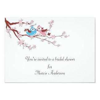 """Love Birds Cherry Blossoms Bridal Shower Invite 4.5"""" X 6.25"""" Invitation Card"""