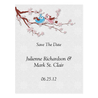 Love Birds Cherry Blossoms Save The Date Postcard