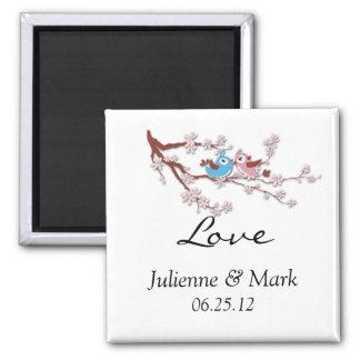 Love Birds Cherry Blossoms Wedding Magnet