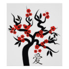 Love Birds Chinese Love Symbol On Sakura Tree Poster