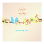 Love birds/colorful blossoms/pink background personalized announcements