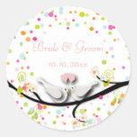 Love birds/confetti/DIY background color Round Stickers