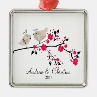 Love Birds Couple Cute 1st Christmas Ornament
