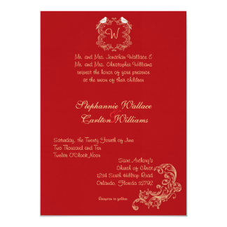 Love Birds Crimson/Creme Wedding Invitation