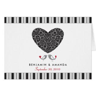 Love Birds Custom Striped Thank You Card black
