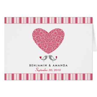 Love Birds Custom Striped Thank You Card (pink)