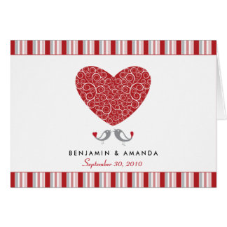 Love Birds Custom Striped Thank You Card (red)