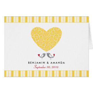 Love Birds Custom Striped Thank You Card (yellow)