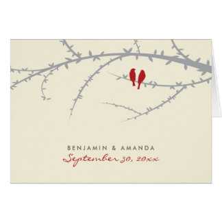 Love Birds Custom Thank You Card (cranberry)