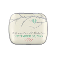 Love Birds Custom Wedding Favor Tins (mint green) Jelly Belly Candy Tin at Zazzle