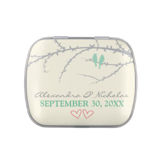 Love Birds Custom Wedding Favor Tins (mint green) Jelly Belly Candy Tin