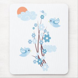 Love Birds & Delicate Flowers Mouse Pad