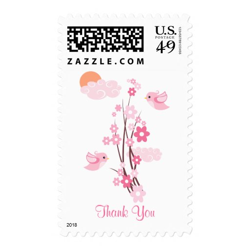 Love Birds & Delicate Flowers Thank You Stamps