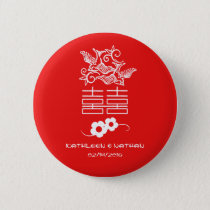 Love Birds - Double Happiness - Wedding Favors Button
