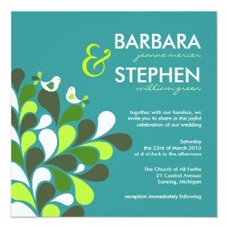 """Love Birds - Eco-Friendly Wedding Invitations 5.25"""" Square Invitation Card"""