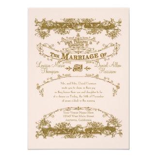 Love Birds Etching Glamorous Vintage Wedding Blush Announcement