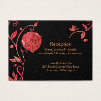 Love Birds Evening Wedding Reception Enclosure Business Card