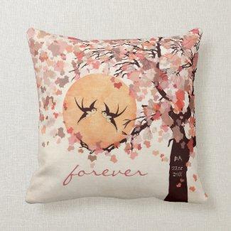 Love Birds - Fall Wedding Anniversary Pillow