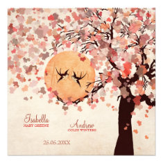 Love Birds - Fall Wedding Personalized Invitation